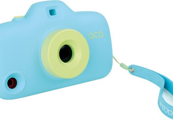 Fotocamera gioco, cover iPhone, azzurra